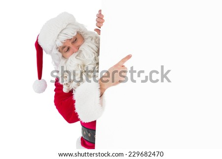 Festive father christmas presenting sign on white background - stock photo