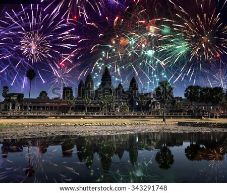 Festive firework over Angkor wat, Siem reap,Cambodia - stock photo