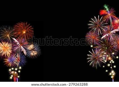 Festive fireworks background with copyspace. - stock photo