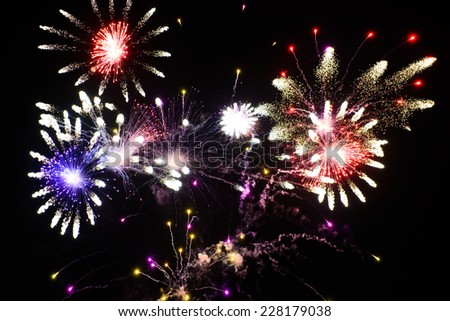Festive fireworks in the night sky - stock photo
