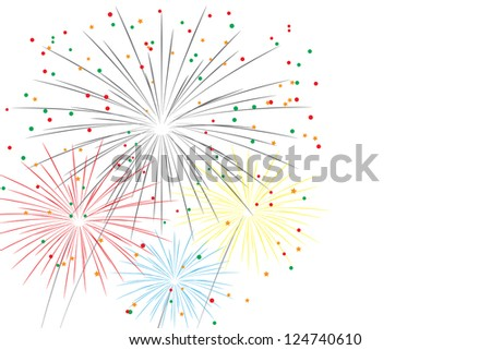 festive fireworks on white. illustration (vector version also available in my gallery) - stock photo