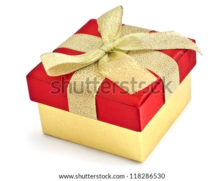 Festive gift box with bow isolated on white background - stock photo
