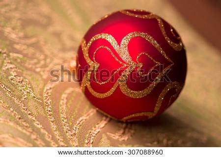 festive glitter christmas decoration bauble seasonal winter holidays. Colored christmas ball toy - stock photo