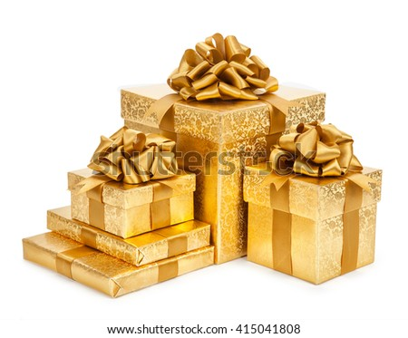 festive gold box on a white background.