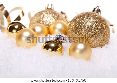 festive golden christmas decoration card isolated on white