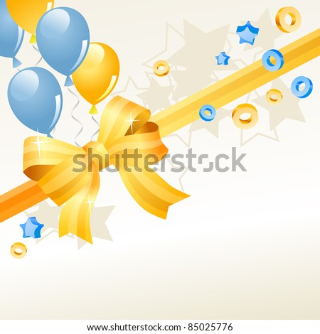Festive greeting card with balloons and gold bow. Raster version. - stock photo