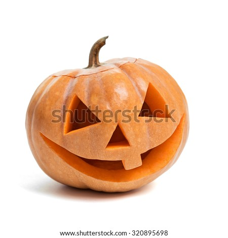Festive Halloween carved pumpkin on white - stock photo