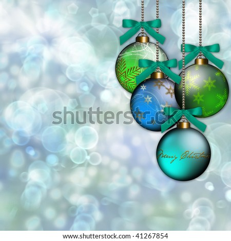 Festive holiday background with blue and green ornaments on colorful bokeh background.
