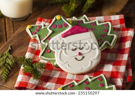 Festive Homemade Christmas Cookies with a Glass of Milk