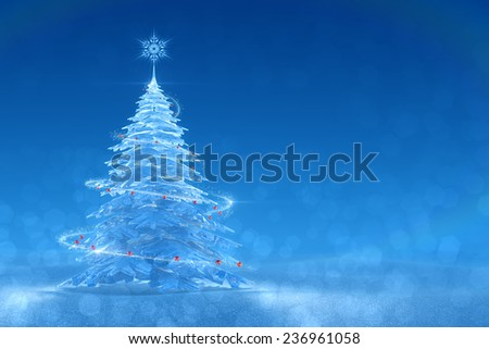 Festive Ice Tree. Christmas / New Year's graphic background. 3D-rendered image. Right side version - stock photo