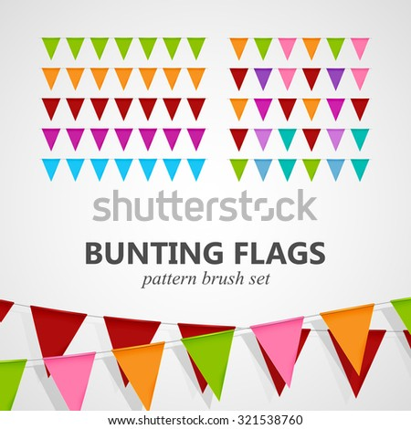 festive illustration of bunting flags pattern brush set. decorative elements for design - stock photo