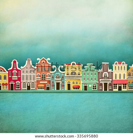 Festive illustration or poster with colorful town - stock photo