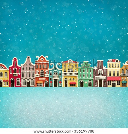 Festive illustration or poster with colorful town.