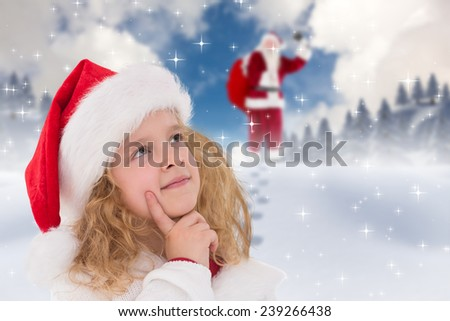 Festive little girl thinking and looking up against blue sky with white clouds - stock photo