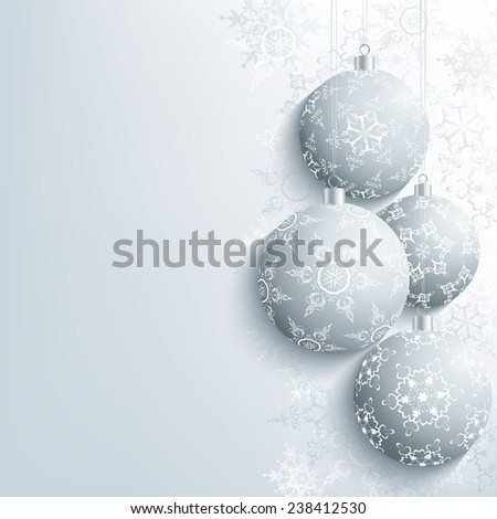 Festive New Year and Christmas card grey with christmas ball and snowflake. Beautiful stylish New Year and Christmas background. Celebratory winter wallpaper. Raster illustration - stock photo