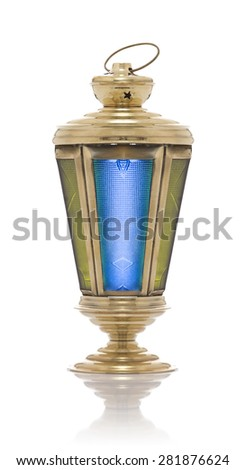 Festive Original Ramadan Lantern Isolated on White Background - stock photo