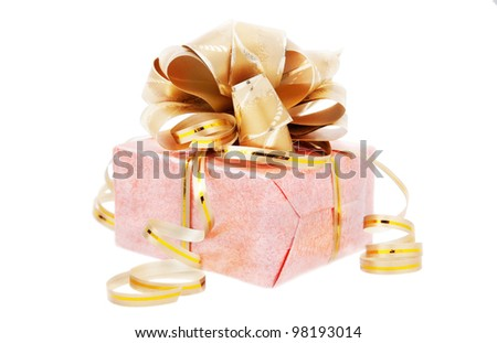 festive packed rosy nacreous present with golden bow isolated on white background - stock photo