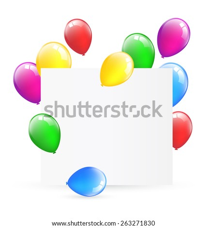 Festive paper frame with inflatable bright air balls isolated on white background - stock photo