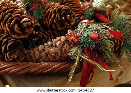 Festive Pine Cones - stock photo