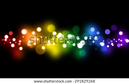 Festive rainbow gradient  background with defocused lights.