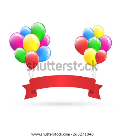 Festive red ribbon hangs on inflatable bright air balls isolated on white background - stock photo