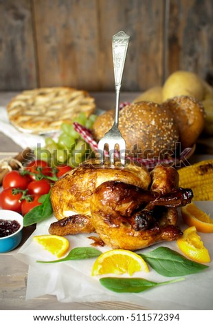 Festive roast turkey with serving fork