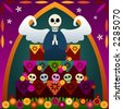 Festive skulls and an angel on top of an altar to celebrate Dia de los Muertos (the Day of the Dead, Oct.31-Nov2) - in rememberance of loved ones who've passed - stock vector