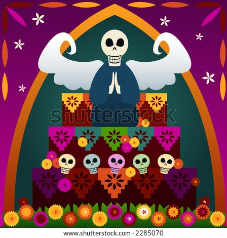 Festive skulls and an angel on top of an altar to celebrate Dia de los Muertos (the Day of the Dead, Oct.31-Nov2) - in rememberance of loved ones who've passed - stock photo