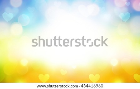 festive small hearts shiny defocused blurred background - stock photo