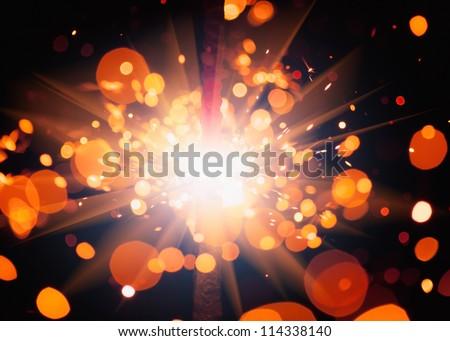festive sparkler - stock photo