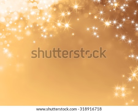 Festive sparkling lights - Shiny gold background with starlight raining down