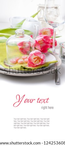 Festive spring table setting with pink tulips, napkins, in bright colors, ready template - stock photo