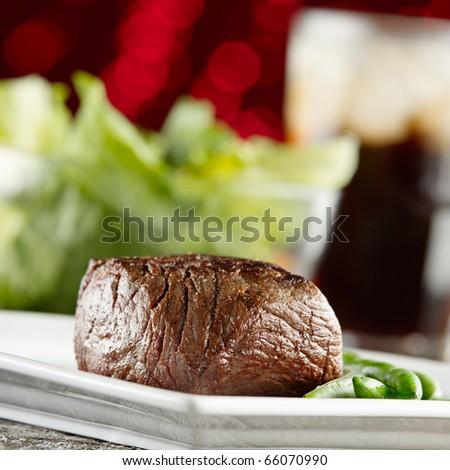 festive steak dinner - stock photo