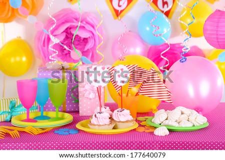 Festive Table Setting Birthday On Celebratory Stock Photo 177640079