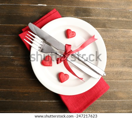 Festive table setting for Valentine Day & Festive Table Setting Valentine Day Stock Photo (Royalty Free ...