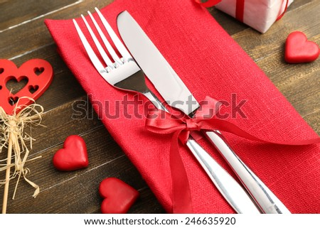 Festive table setting for Valentines Day - stock photo