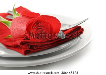 Festive table setting for Valentines Day isolated on white