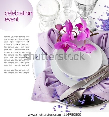 Festive Table Setting with Orchid - stock photo