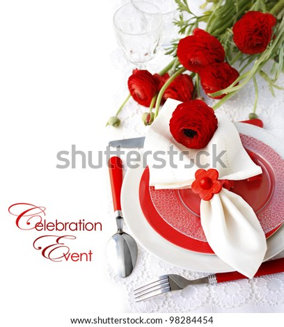 Festive Table Setting  with Ranunculus Flowers - stock photo