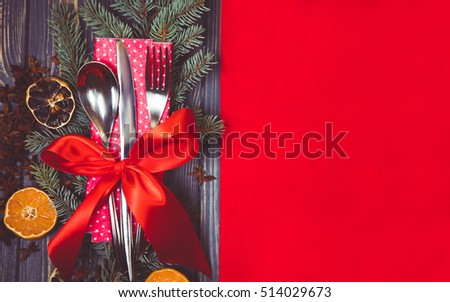 Festive  table setting with  red flat mock up for design