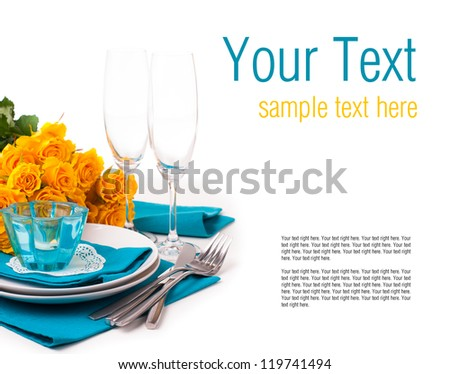 Festive table setting with yellow roses, glasses, candles, napkins and cutlery in blue and yellow colors, ready template - stock photo