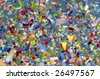 Festive thick colorful confetti against blue sky background - stock photo