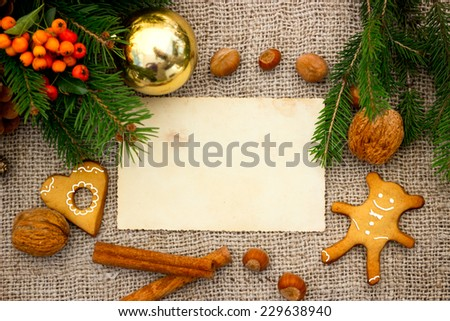 Festive traditional Christmas decoration with gingerbread cake - stock photo
