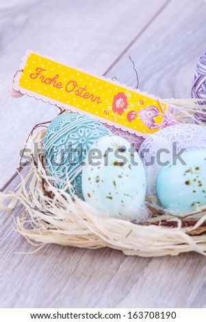 festive traditional easter egg decoration ribbon and tfestive traditional easter egg decoration colored eggs