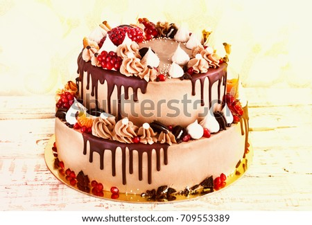 Festive Twotier Cake Fruit Streaks Chocolate Stock Photo 709553389