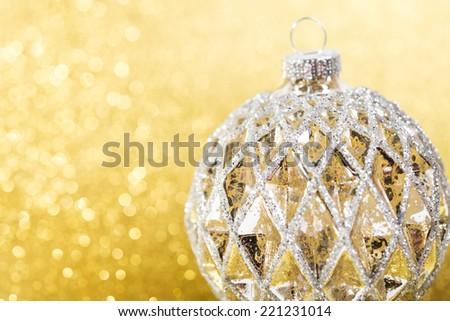 Festive Vintage Christmas decoration on abstract glitter background