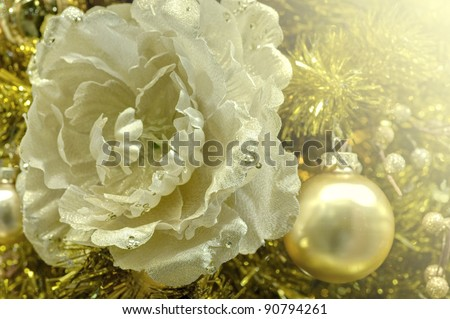 festive white and gold decoration for Merry Christmas and a happy new year with flower - stock photo