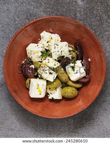 Feta and Olive Tapas.  - stock photo