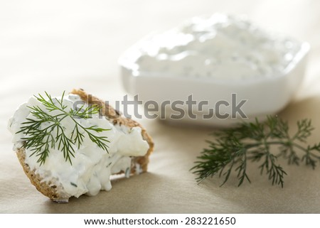 Feta cheese spread with dill on a piece  of bread - stock photo