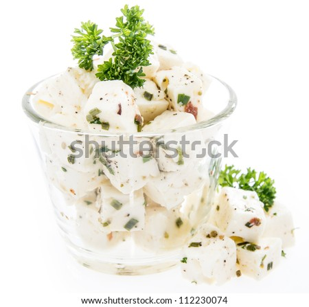 Feta in a glass isolated on white - stock photo